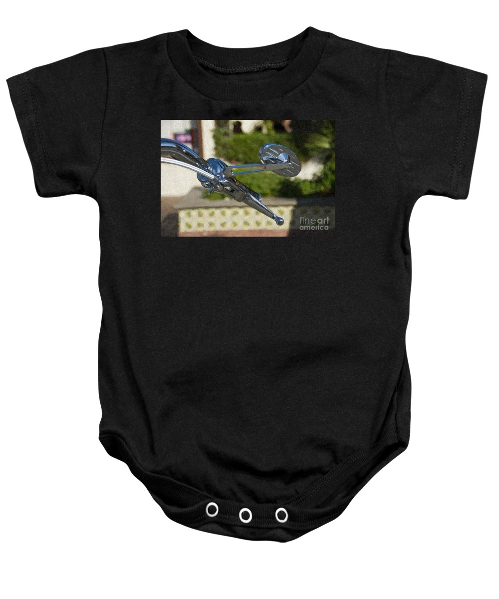 Handlebar Controls And Switches For Harley Davidson Baby Onesie featuring the photograph Handlebar Controls And Switches For Harley Davidson by David Zanzinger