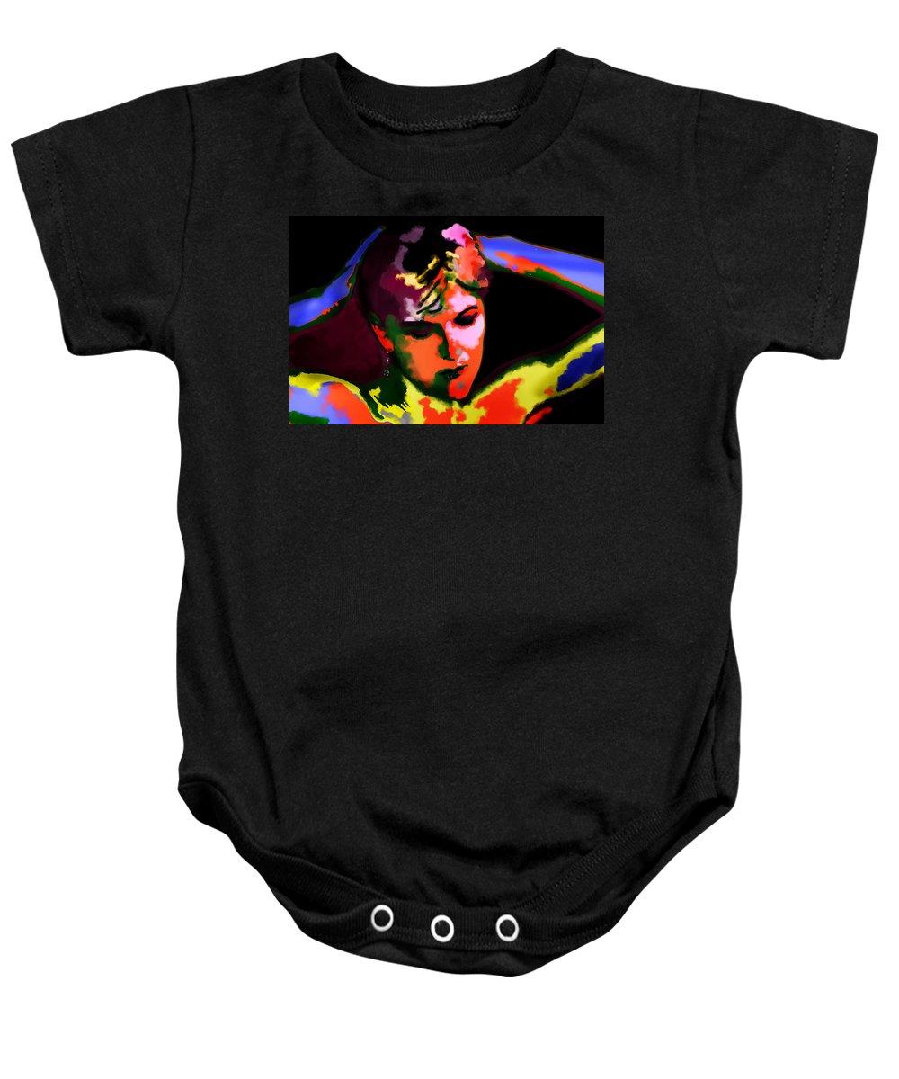 Portrait Baby Onesie featuring the digital art Hands Behind Your Head by Donna Blackhall