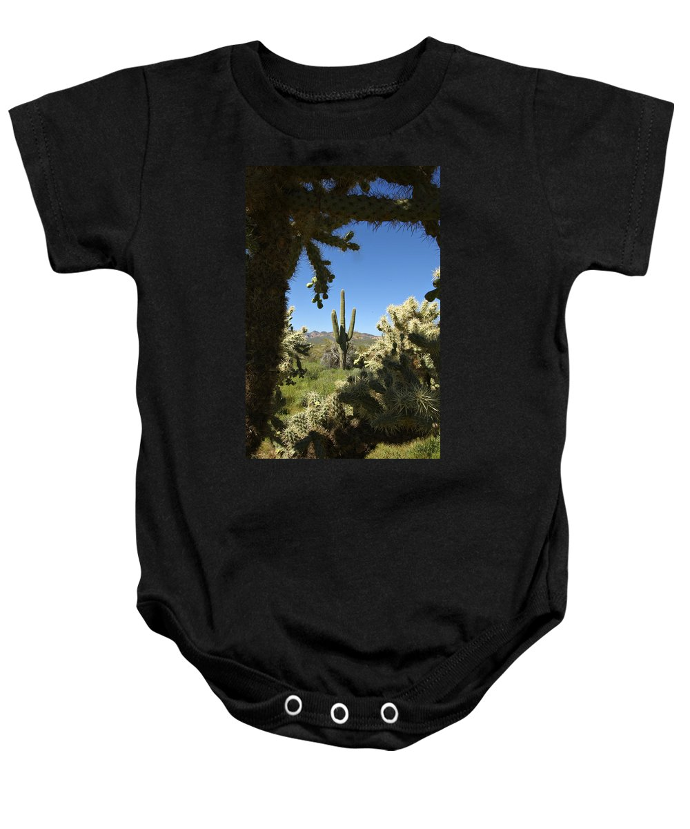 Saguaro Baby Onesie featuring the photograph Hands Up You're Surrounded by Jill Reger