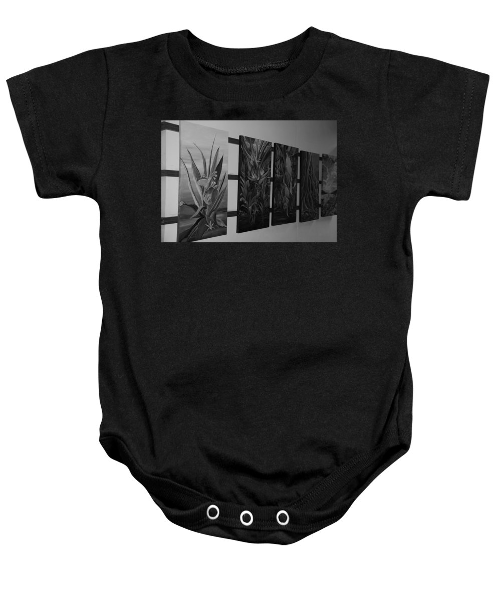 Black And White Baby Onesie featuring the photograph Hanging Art by Rob Hans