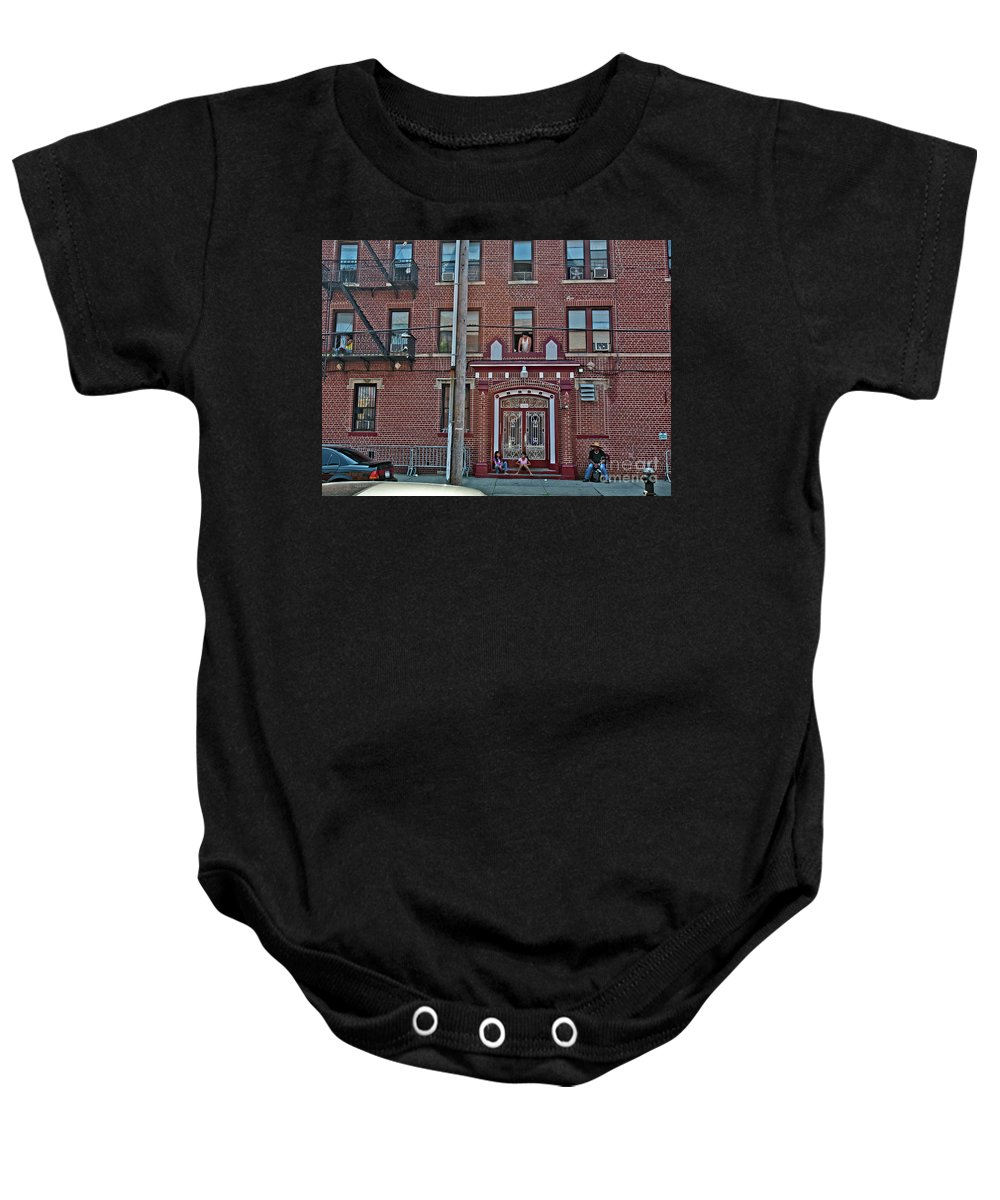 People Baby Onesie featuring the photograph Hanging Out In Brooklyn by Madeline Ellis