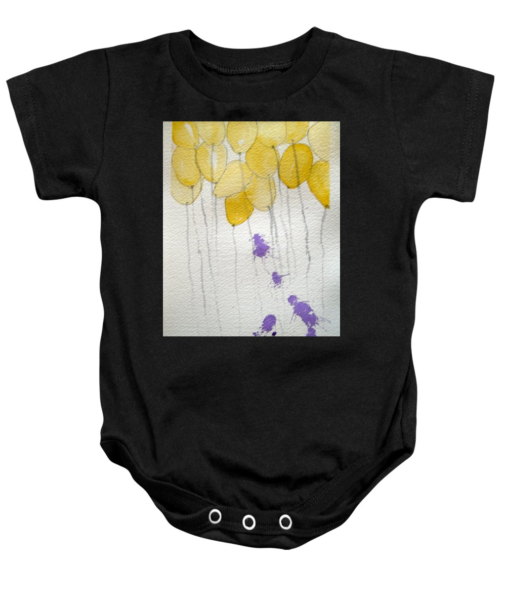 Balloon Celebrate Fun Happy Play Birthday Baby Onesie featuring the painting Happy Birthday Ashleigh by Patricia Caldwell