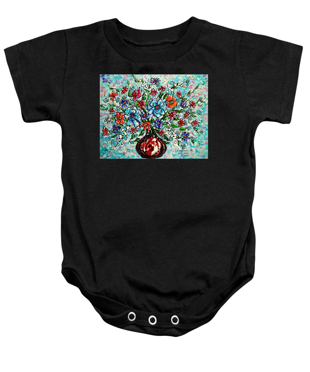 Impressionism Baby Onesie featuring the painting Happy Bouquet by Leonard Holland
