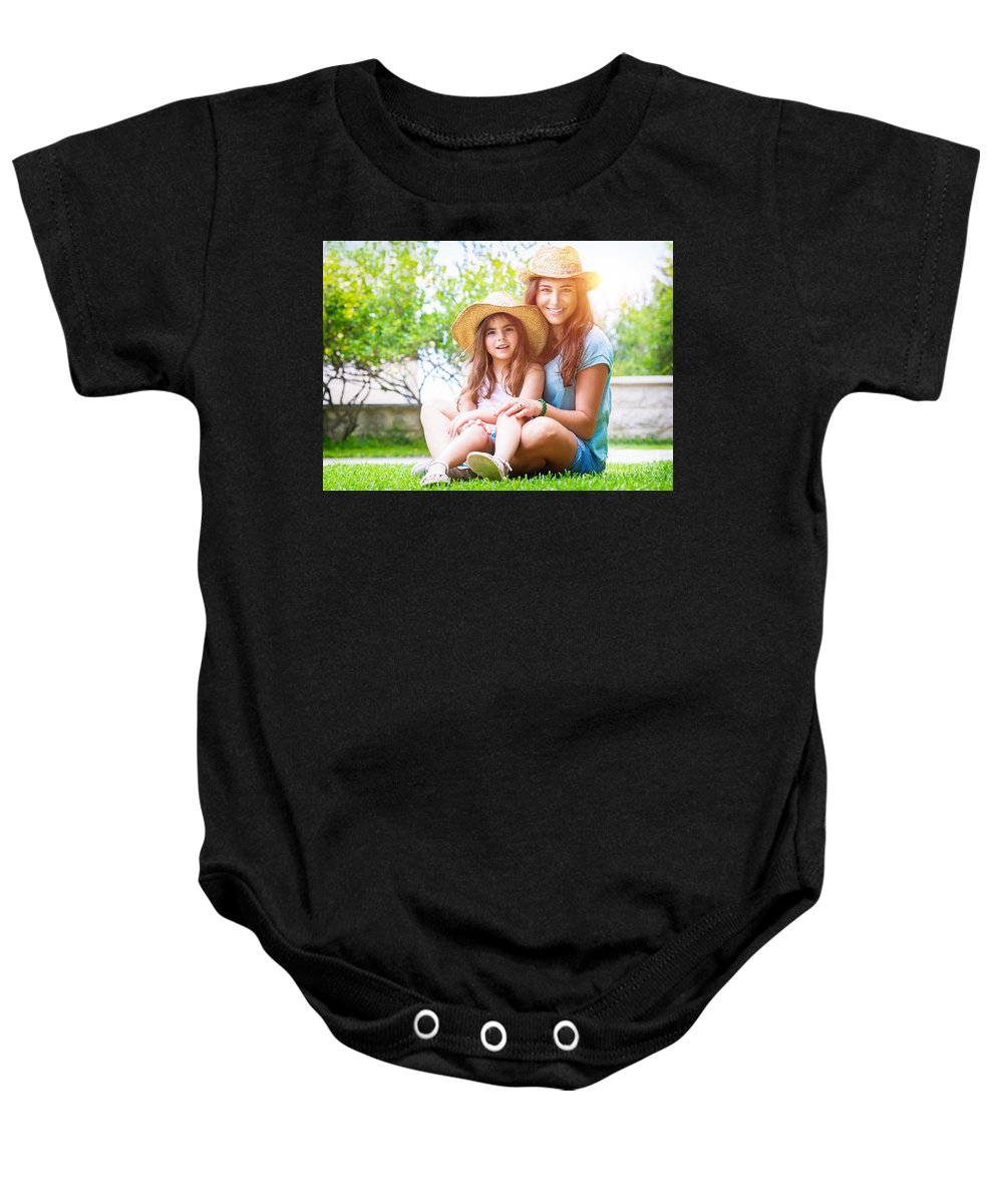 Baby Baby Onesie featuring the photograph Happy Family On A Backyard by Anna Om