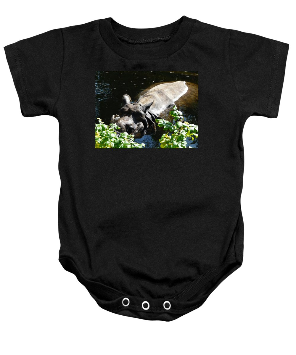 Rhinoceros Unicornis Baby Onesie featuring the photograph Happy Rhino by Valerie Ornstein