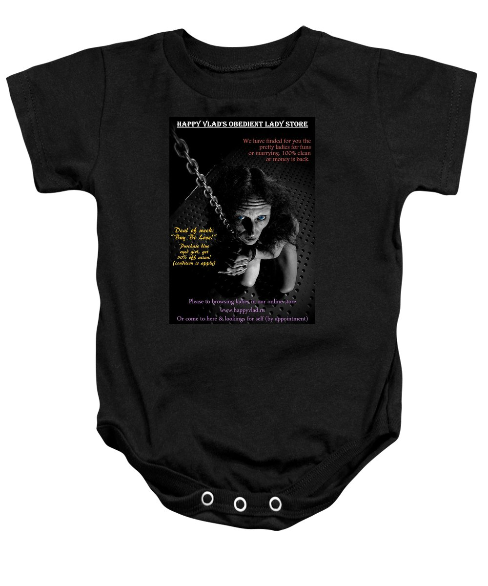 Slave Baby Onesie featuring the photograph Happy Vlad's Obedient Lady Store by Guy Pettingell