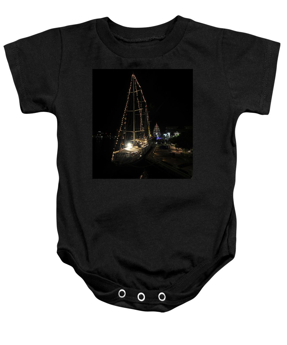 Tampa Bay Florida Baby Onesie featuring the photograph Harbor Night by David Lee Thompson