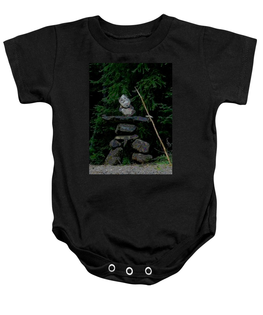 Inuksuk. Baby Onesie featuring the photograph Hard As A Rock by David Parsons