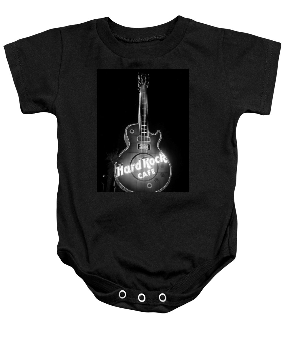 Vegas Baby Onesie featuring the photograph Hard Rock Cafe Sign B-w by Anita Burgermeister
