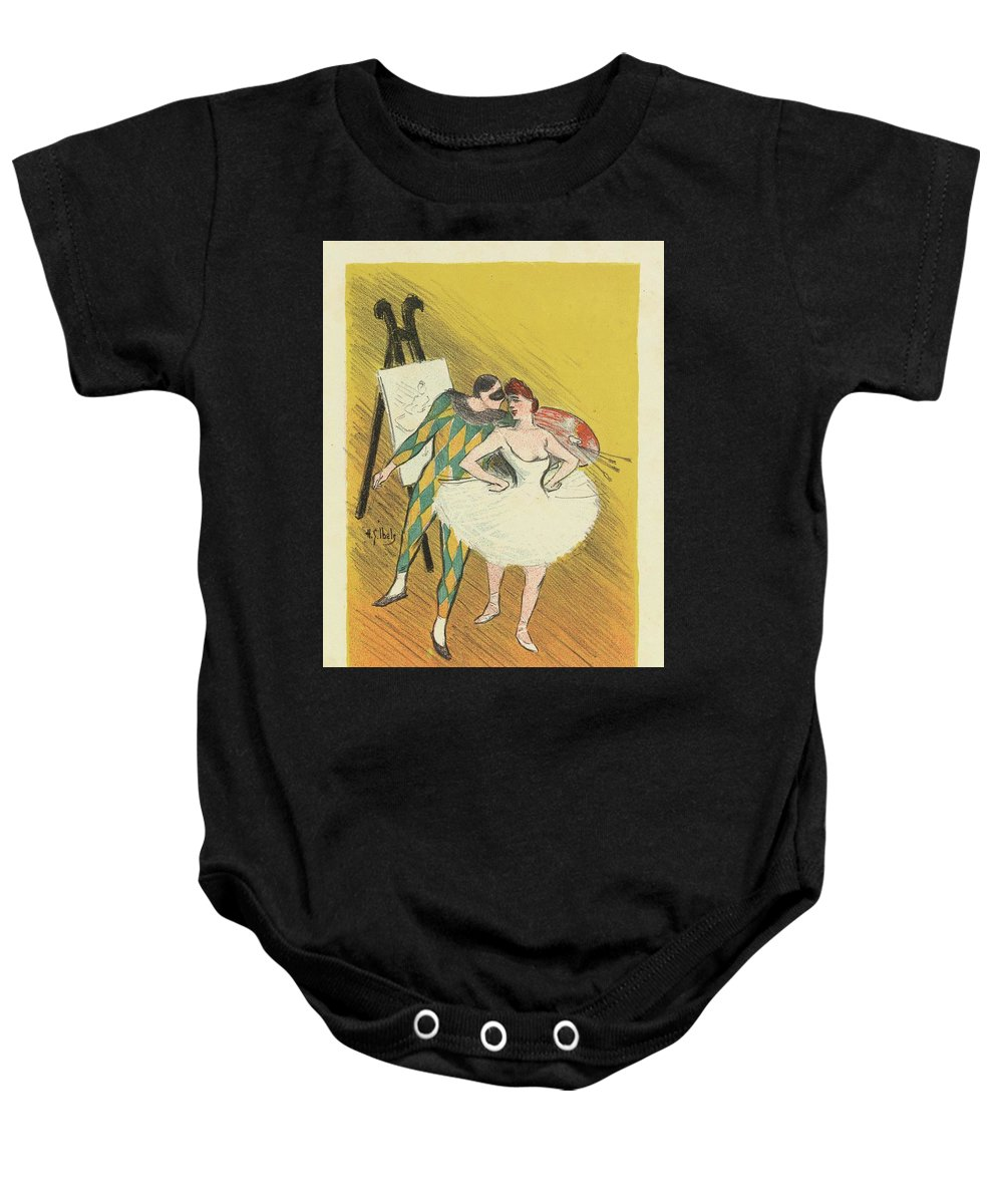 Harlequin And Columbine Baby Onesie featuring the painting Harlequin And Columbine by Henri Gabriel Ibels