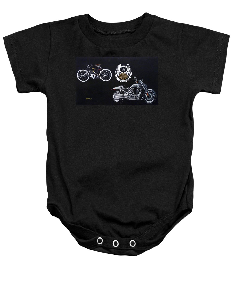 Bikes Baby Onesie featuring the painting Harley Davidson 105th Anniversary by Richard Le Page