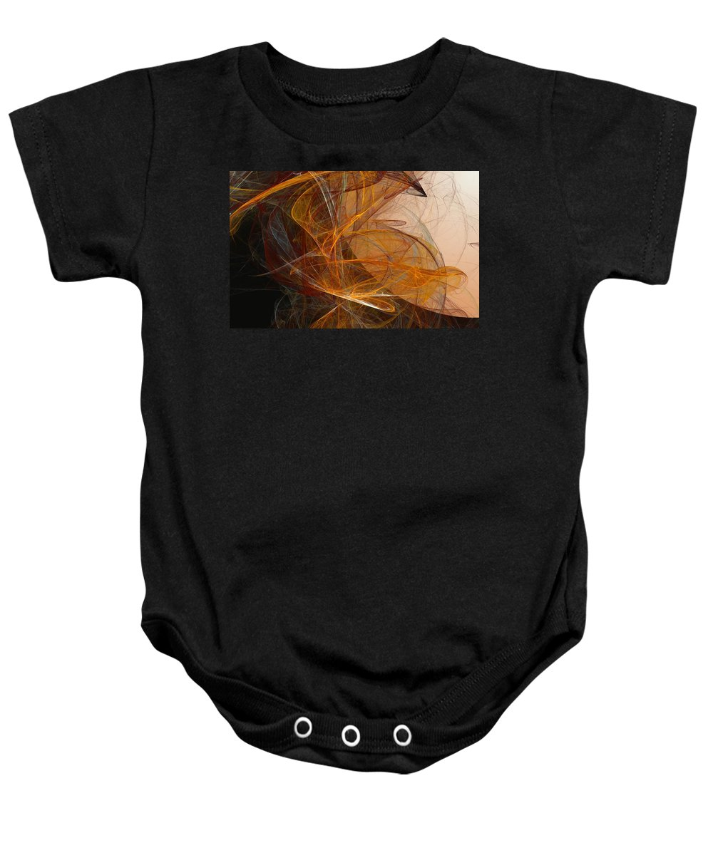 Abstract Expressionism Baby Onesie featuring the digital art Harvest Moon by David Lane