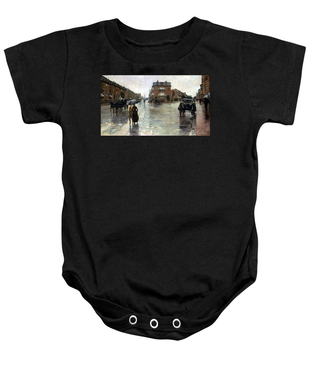 1885 Baby Onesie featuring the photograph Hassam: Rainy Boston, 1885 by Granger