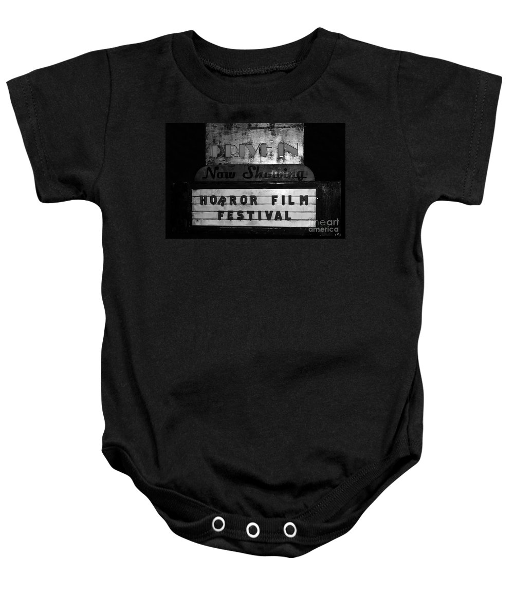 Horror Film Festival Baby Onesie featuring the photograph Haunted Drive In by David Lee Thompson