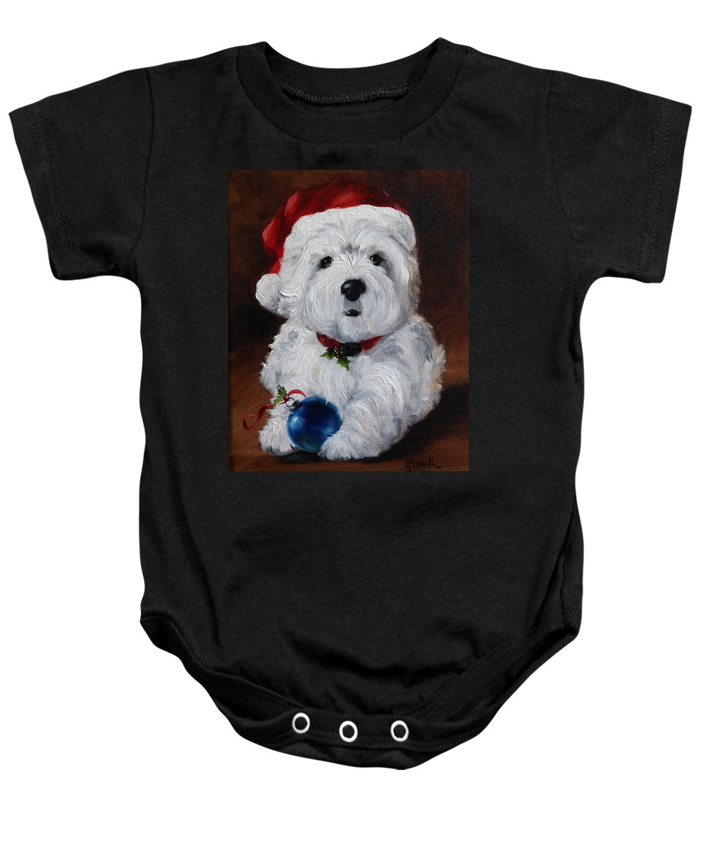 Art Baby Onesie featuring the painting Have Yourself A Merry Little Christmas by Mary Sparrow