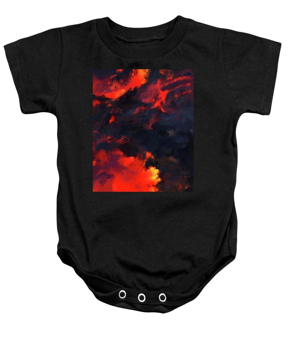 Hawaii Baby Onesie featuring the painting Hawaiian Volcano Lava Flow by Kedoki