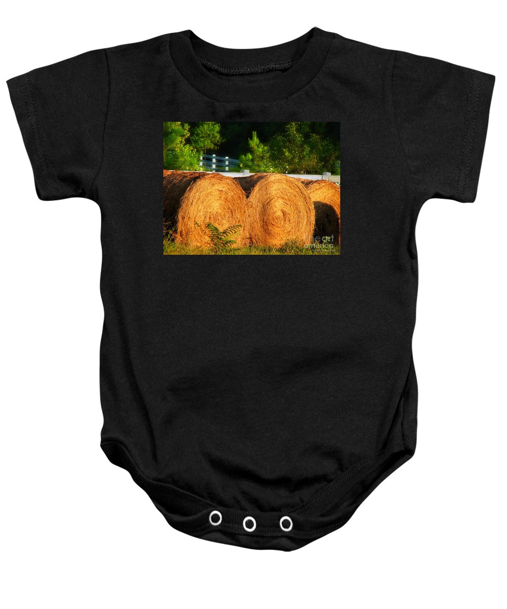 Landscape Baby Onesie featuring the photograph Hay Bales by Todd Blanchard