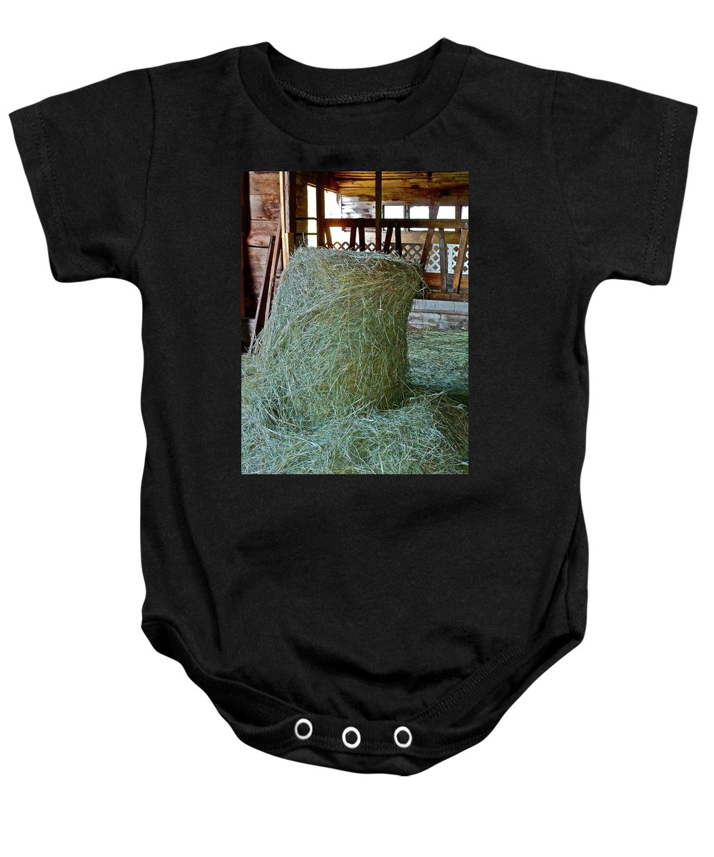 Hay Baby Onesie featuring the photograph Hay Is For Horses by Diana Hatcher