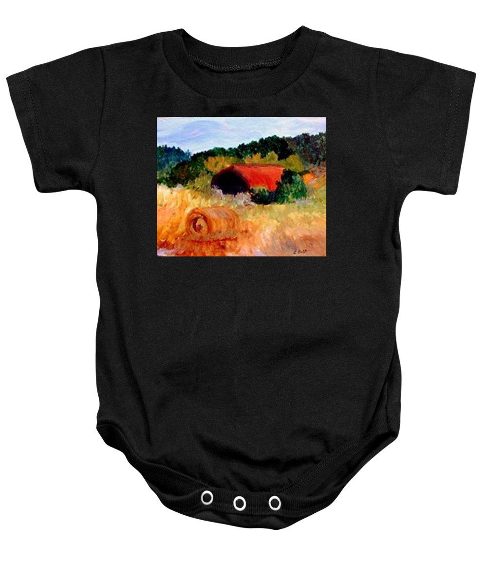 Hayrolls Baby Onesie featuring the painting Hayrolls by Gail Kirtz