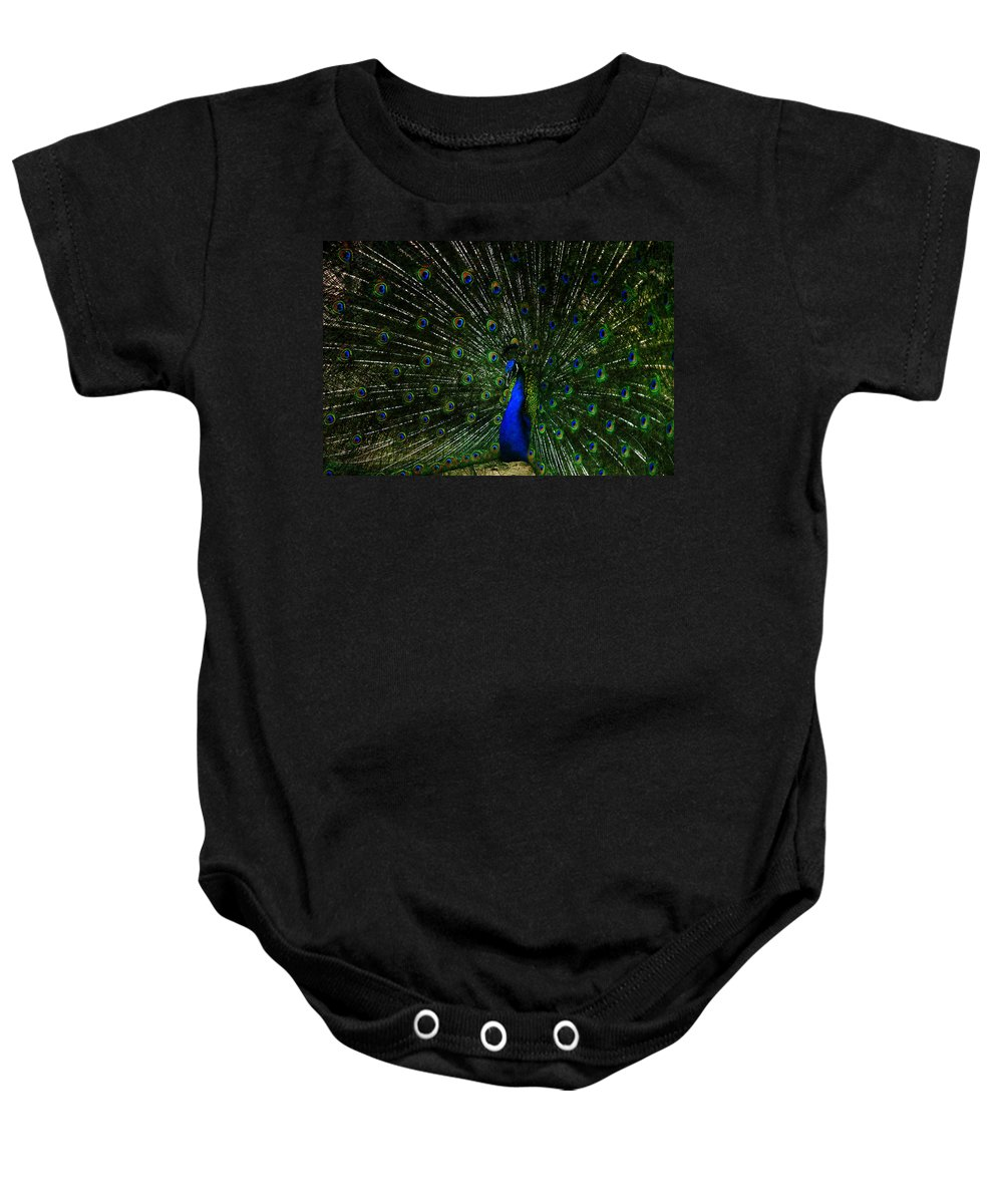 Peacock Baby Onesie featuring the photograph He Is The King by Susanne Van Hulst