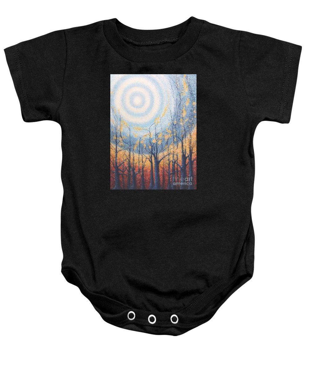 He Lights The Way In The Darkness Baby Onesie featuring the painting He Lights The Way In The Darkness by Holly Carmichael
