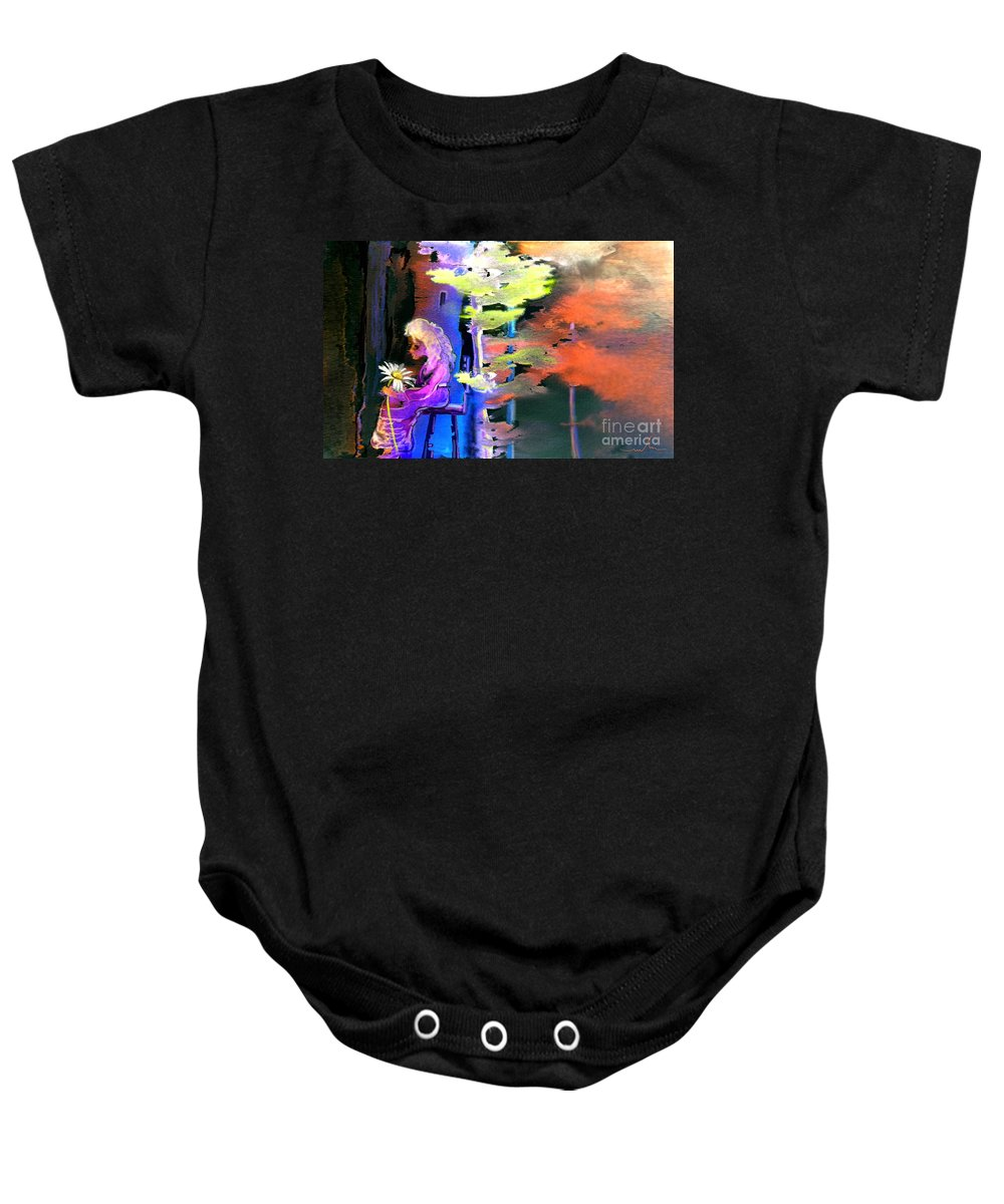 Dream Baby Onesie featuring the painting He Loves Me He Loves Me Not by Miki De Goodaboom
