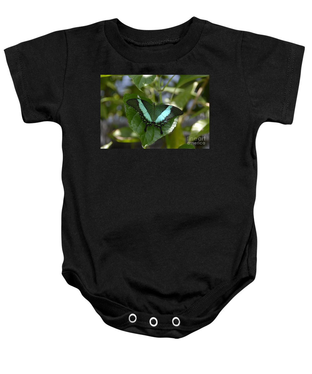 Butterfly Baby Onesie featuring the photograph Heart Leaf Butterfly by David Lee Thompson