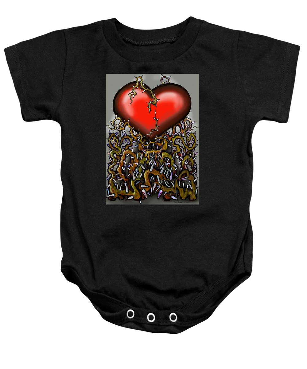 Heart Baby Onesie featuring the painting Heart N Thorns by Kevin Middleton