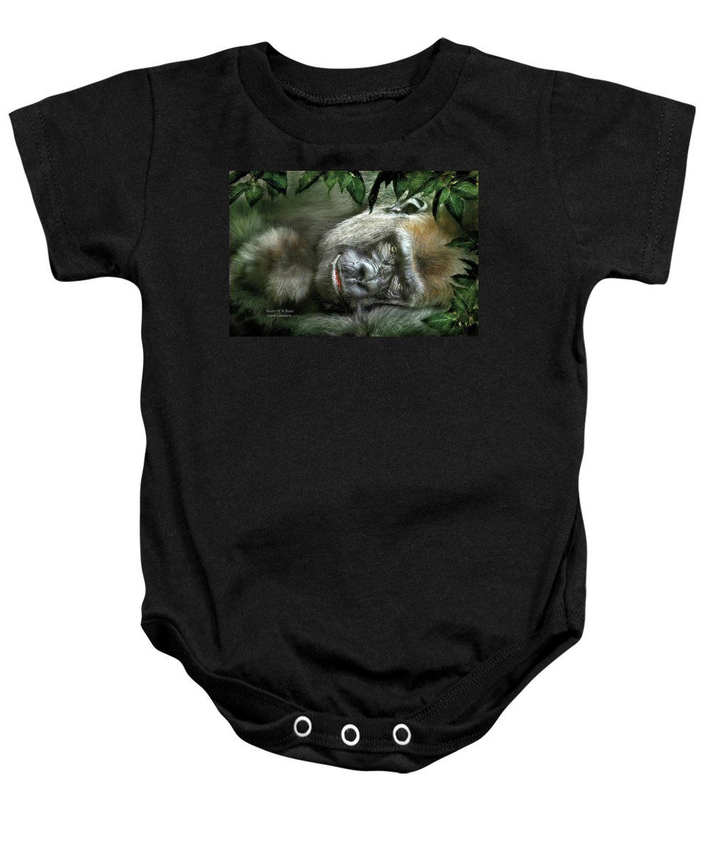 Gorilla Baby Onesie featuring the mixed media Heart Of A Beast by Carol Cavalaris