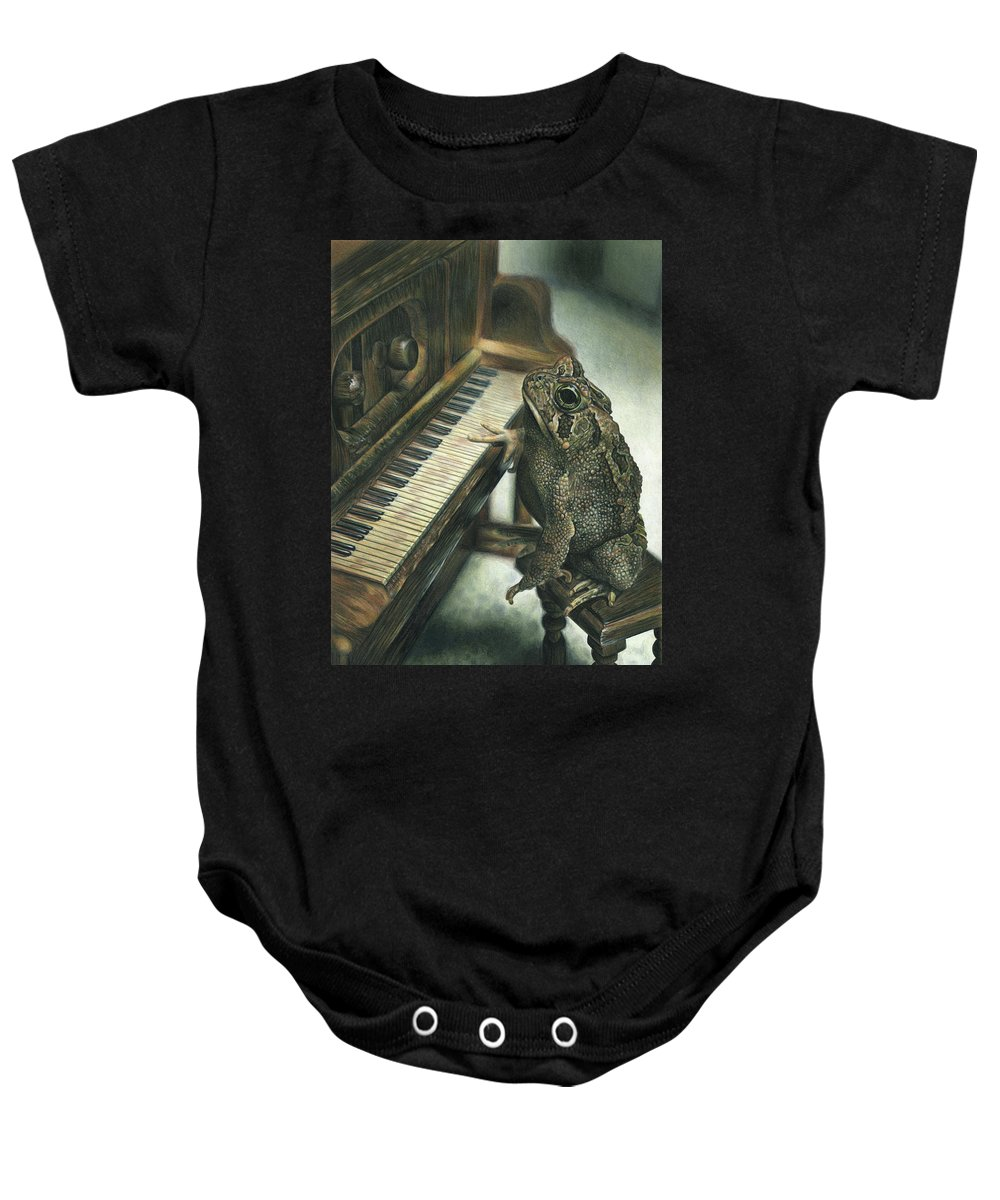 Heart Baby Onesie featuring the drawing Heart Of The Symphony by Cara Bevan