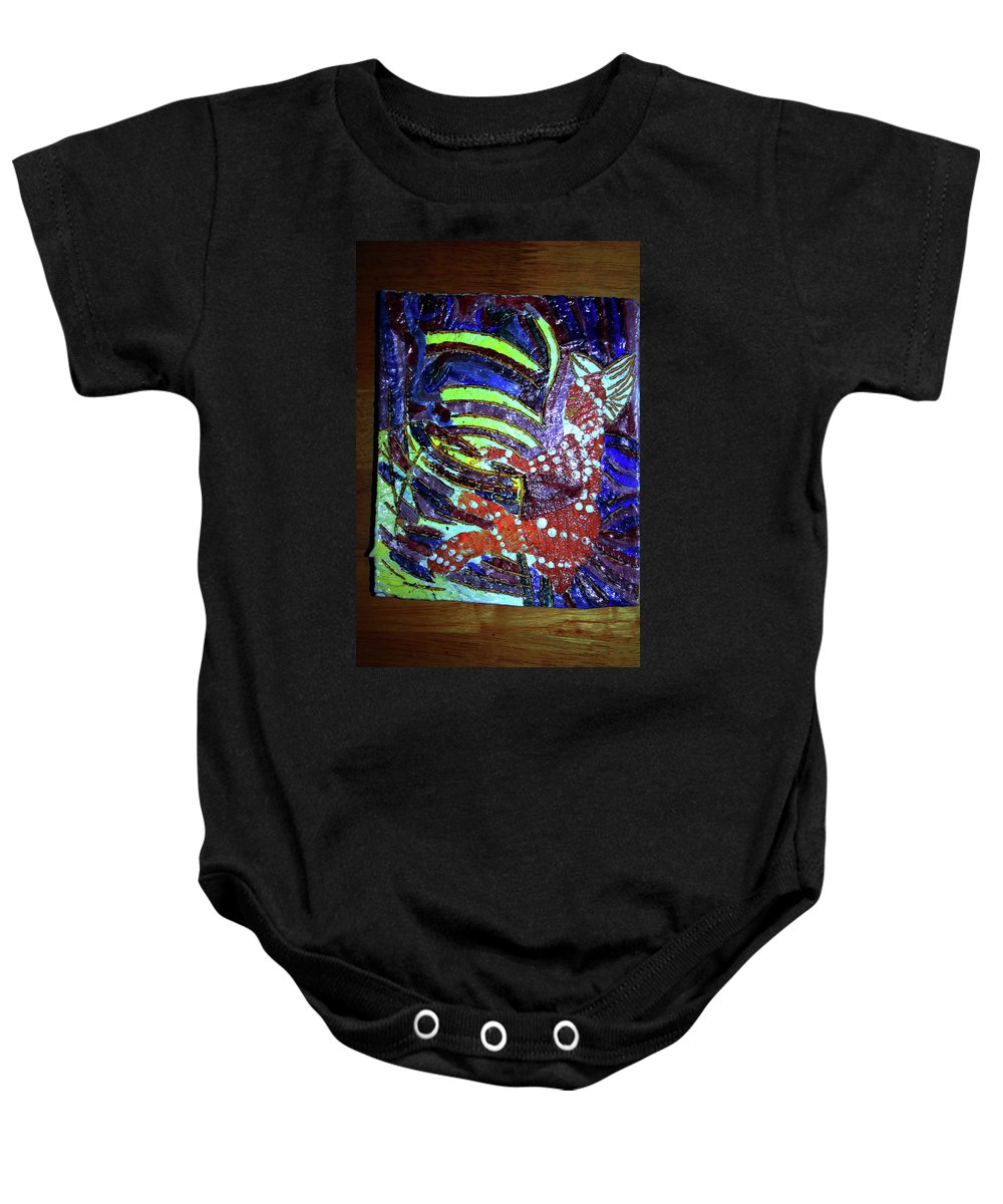 Plaquesmamamama Africa Twojesus Baby Onesie featuring the ceramic art Hearts Drum 6 by Gloria Ssali
