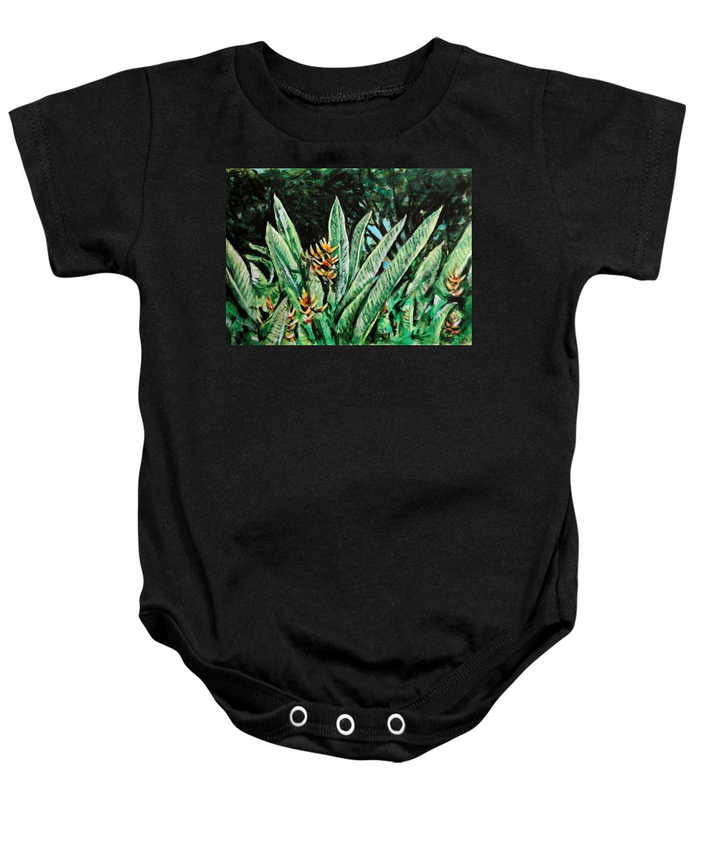 Heliconia Baby Onesie featuring the painting Heliconia 4 by Usha Shantharam