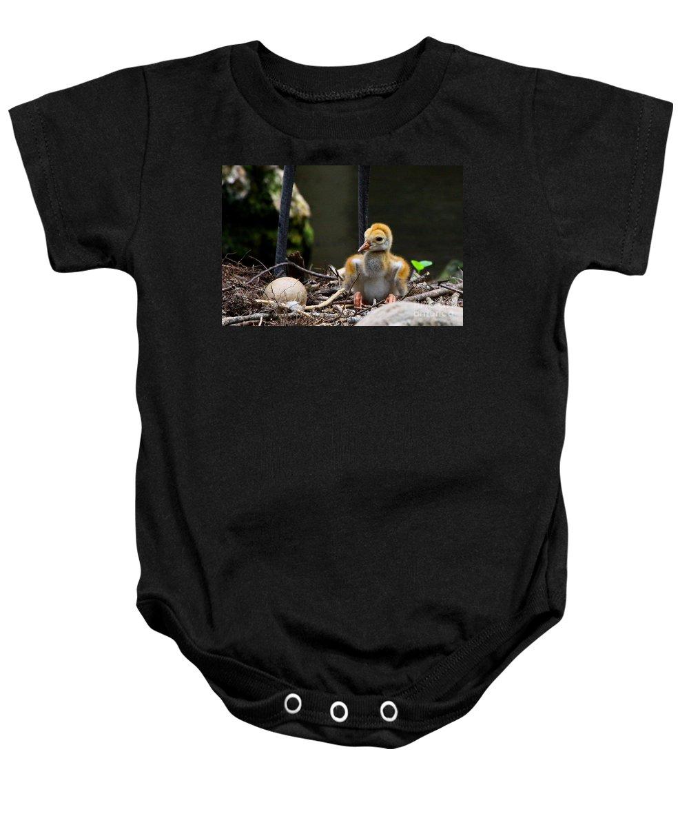 Sandhill Crane Baby Onesie featuring the digital art Hello World by Barbara Bowen