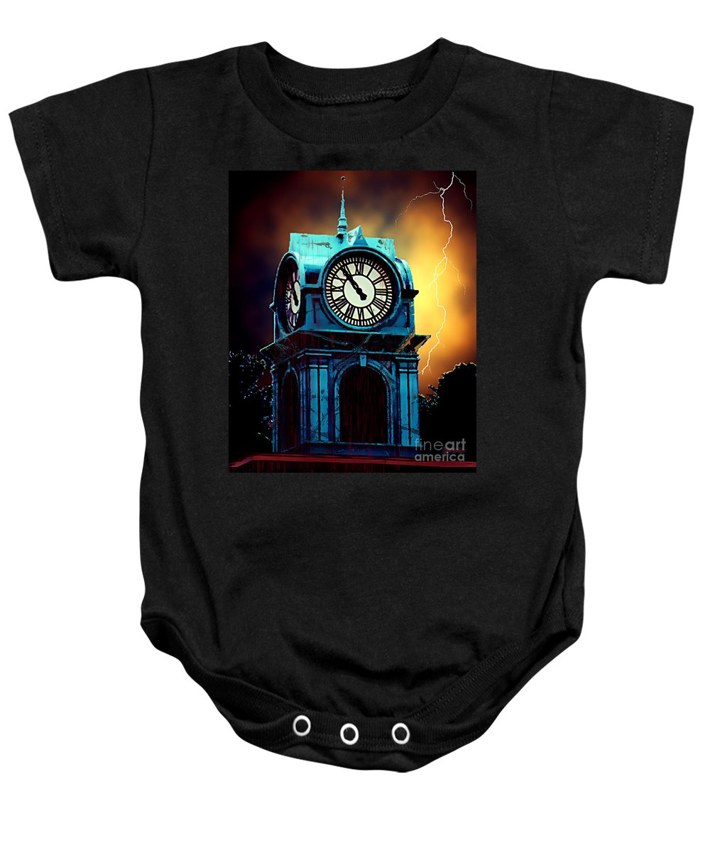 Blood Baby Onesie featuring the painting Hells Timeclock by RC DeWinter