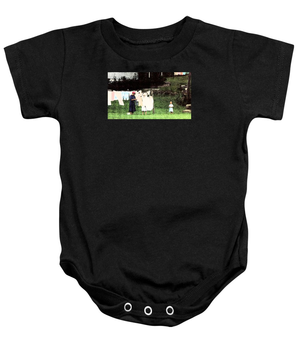 Clothesline Baby Onesie featuring the photograph Helpin Momma..amish Wash Day by Danny Craig
