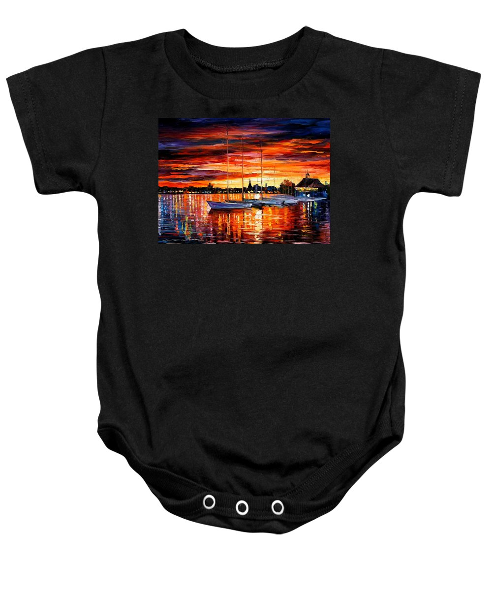 Afremov Baby Onesie featuring the painting Helsinki - Sailboats At Yacht Club by Leonid Afremov