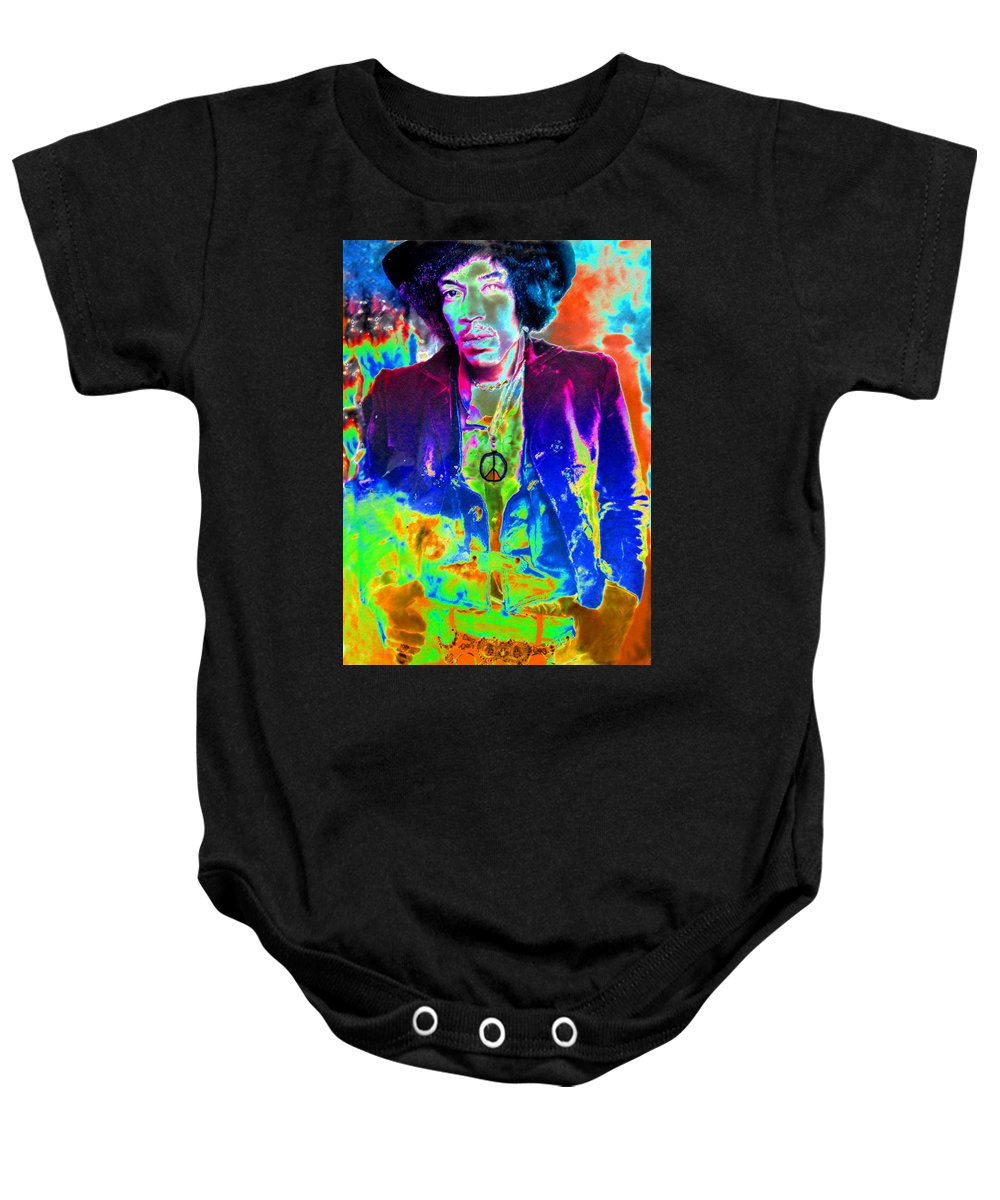 Art Baby Onesie featuring the painting Hendrix by David Lee Thompson