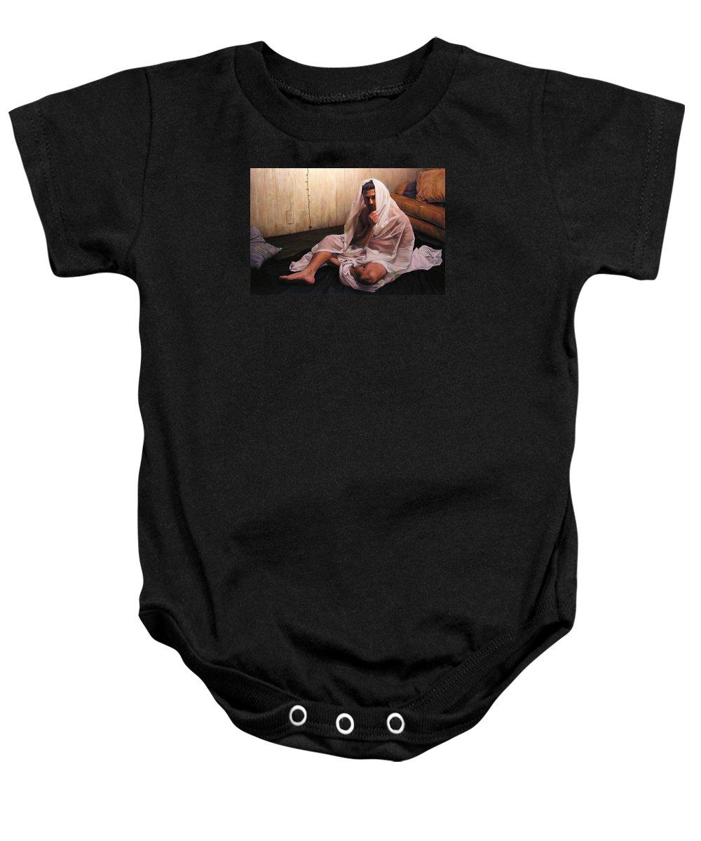 Hermit Baby Onesie featuring the painting Hermit by Joe Velez