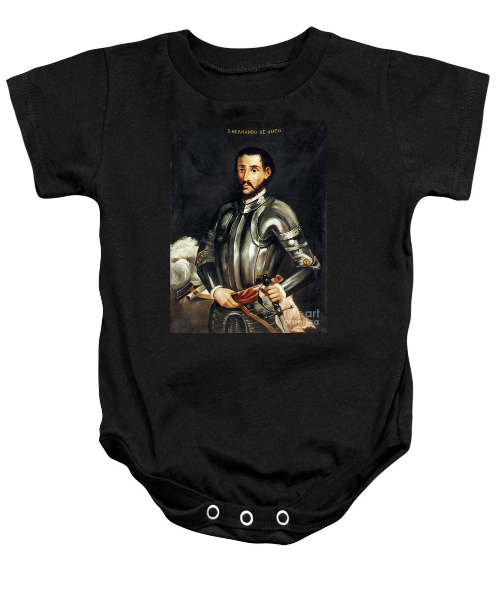 16th Century Baby Onesie featuring the painting Hernando De Soto by Granger