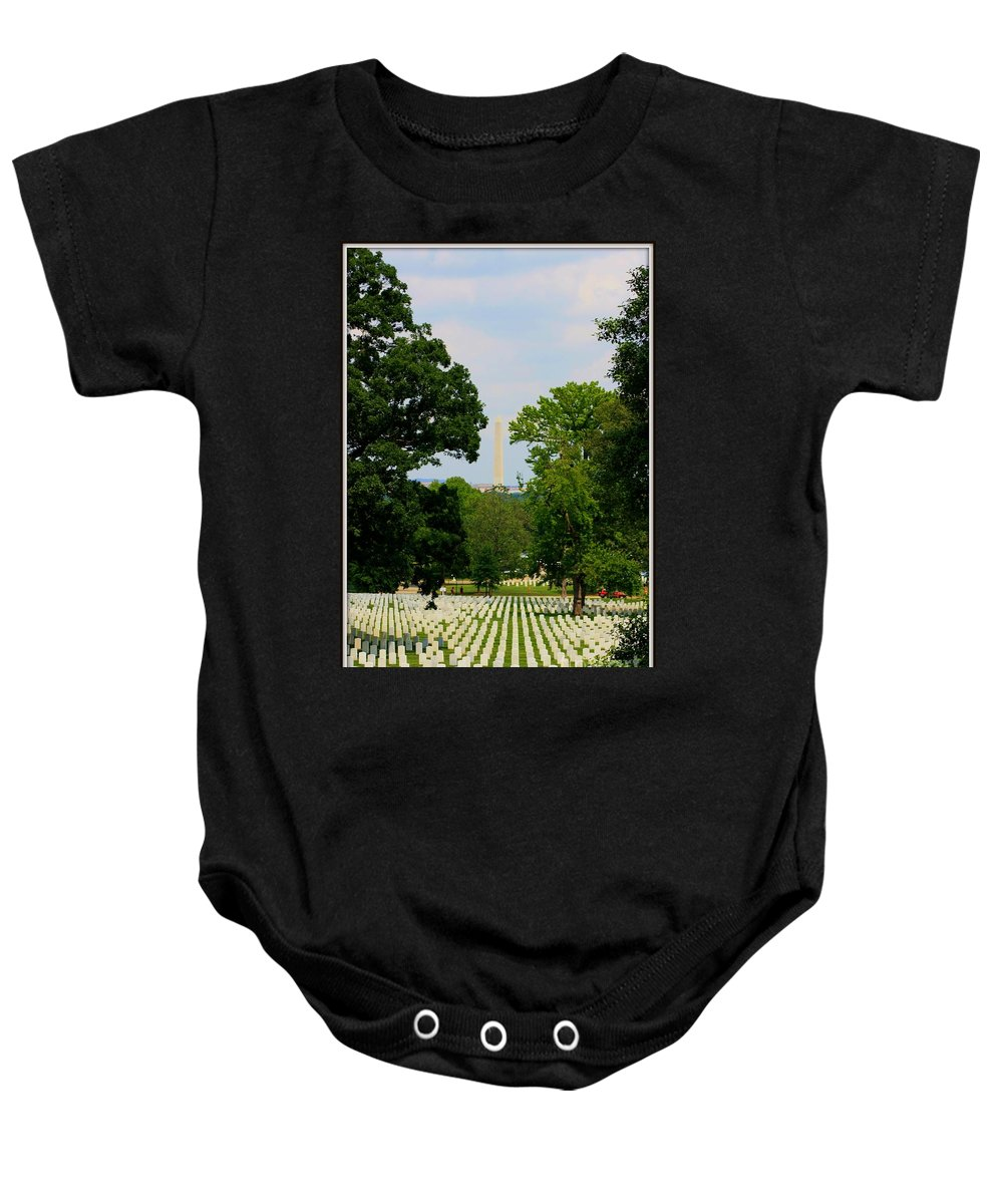 Heroes And A Monument Baby Onesie featuring the photograph Heroes And A Monument by Patti Whitten
