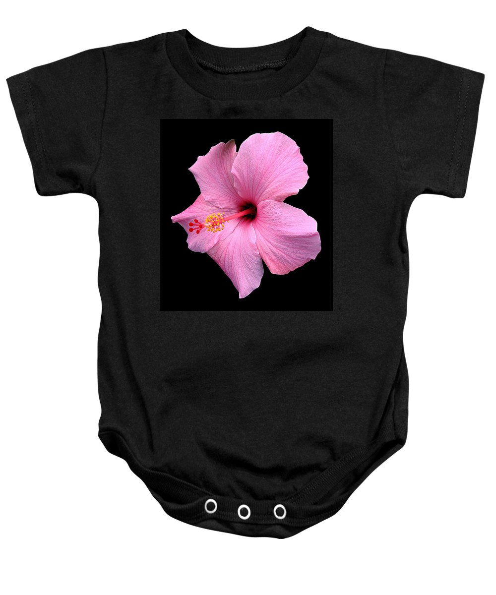 Baby Onesie featuring the photograph Hibiscus On Black by J M Farris Photography