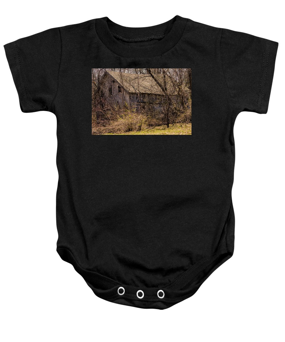 Barns Baby Onesie featuring the photograph Hidden Barn by Jim Markiewicz