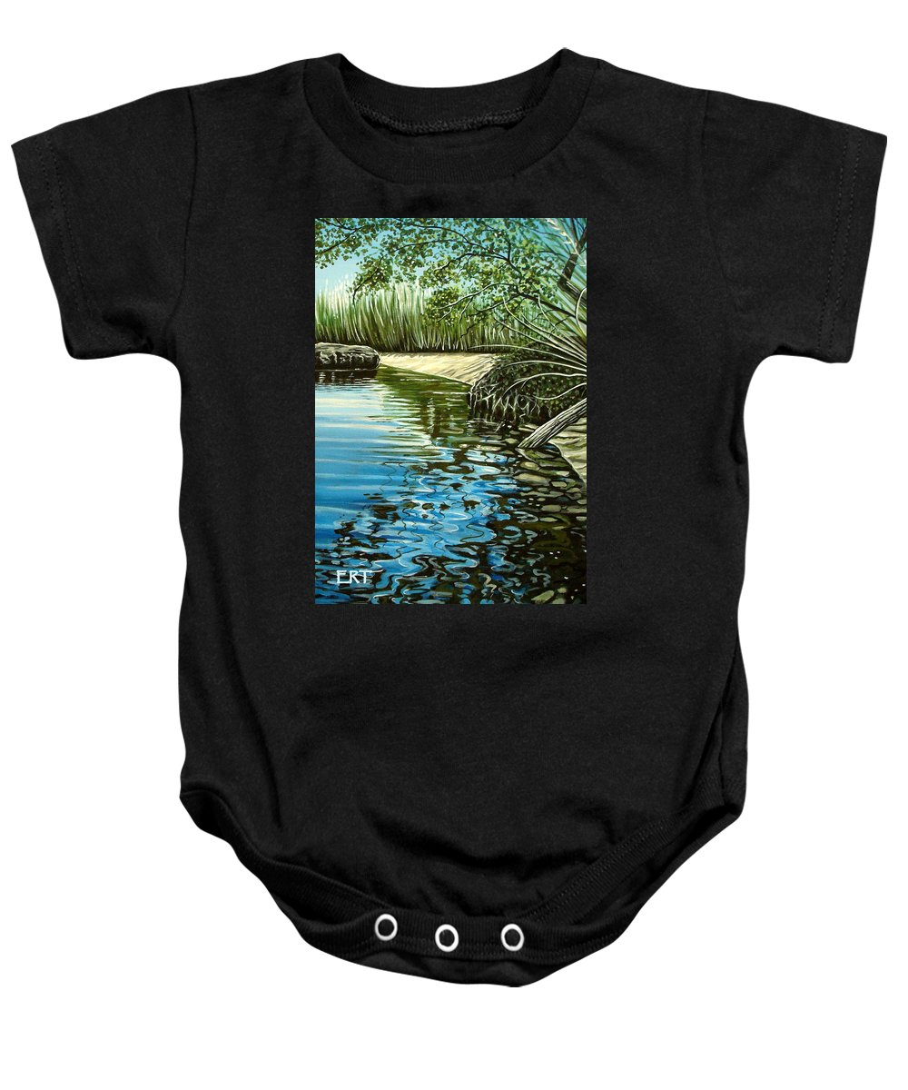 Nature Baby Onesie featuring the painting Hidden Beach by Elizabeth Robinette Tyndall