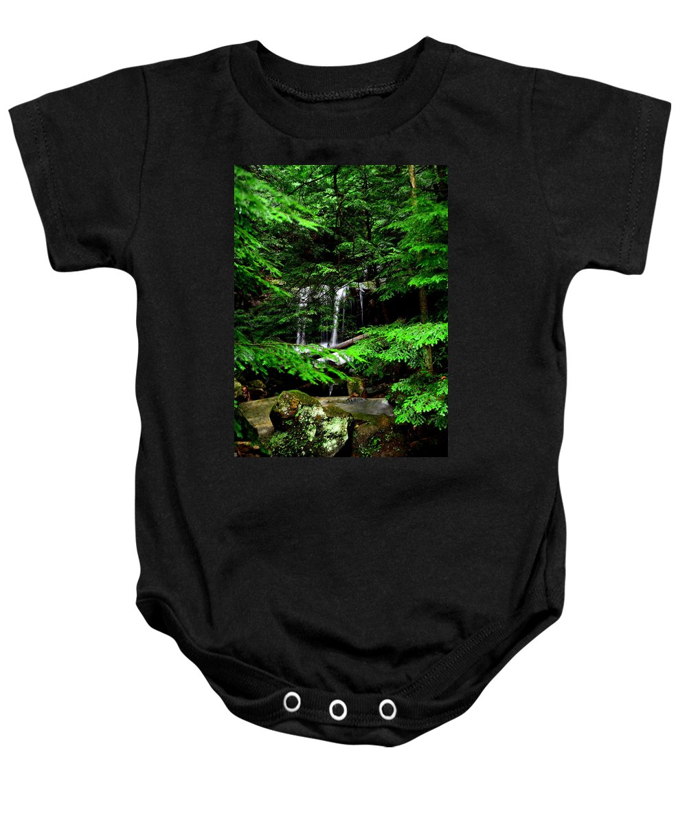 Mcconnell Mill State Park Pa Baby Onesie featuring the photograph Hidden Beauty by Lisa Wooten
