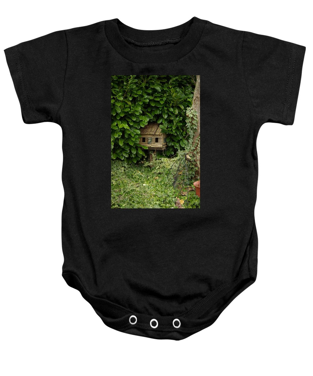 Hide Baby Onesie featuring the photograph Hidden Birdhouse by Cindy Johnston