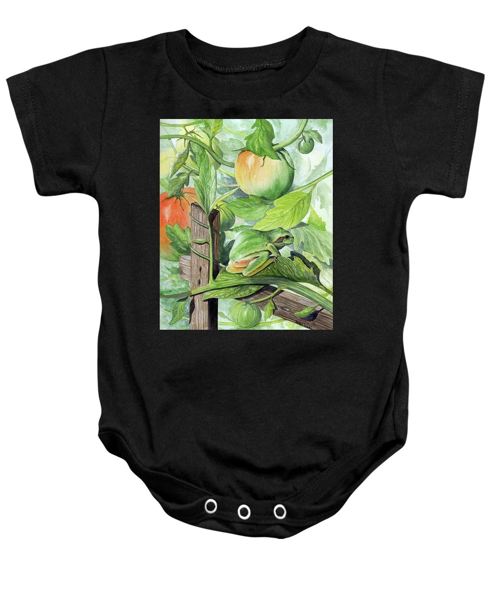 Frog Baby Onesie featuring the painting Hidden II by Mary Tuomi