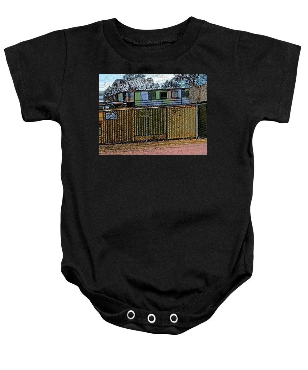 Abstract Baby Onesie featuring the digital art Hiding The Trucks by Lenore Senior