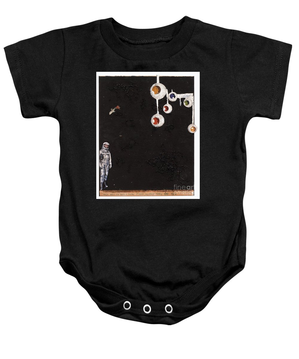 Spaceman Baby Onesie featuring the mixed media High Above Him There by Jaime Becker