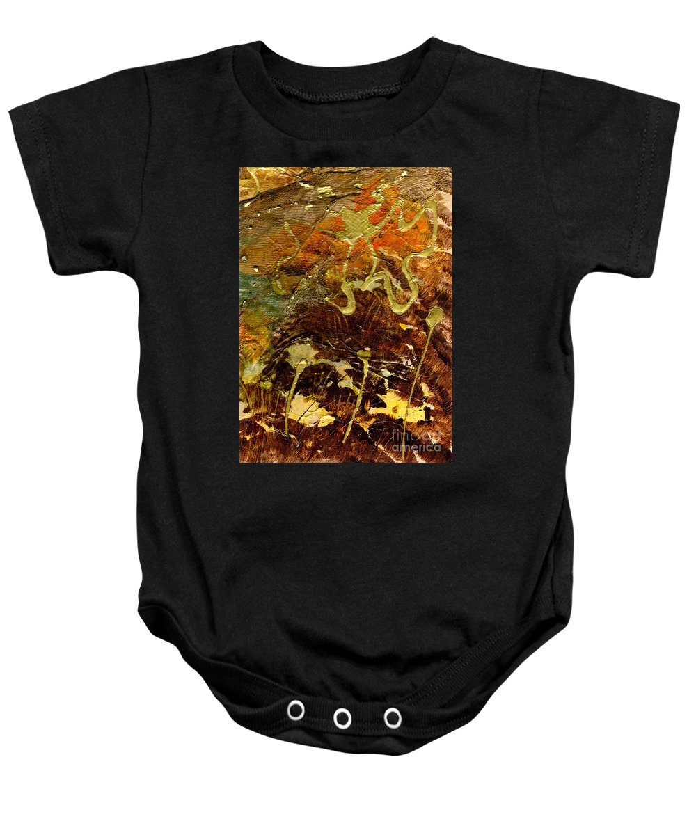 Hiking Baby Onesie featuring the mixed media Hiking I by Angela L Walker