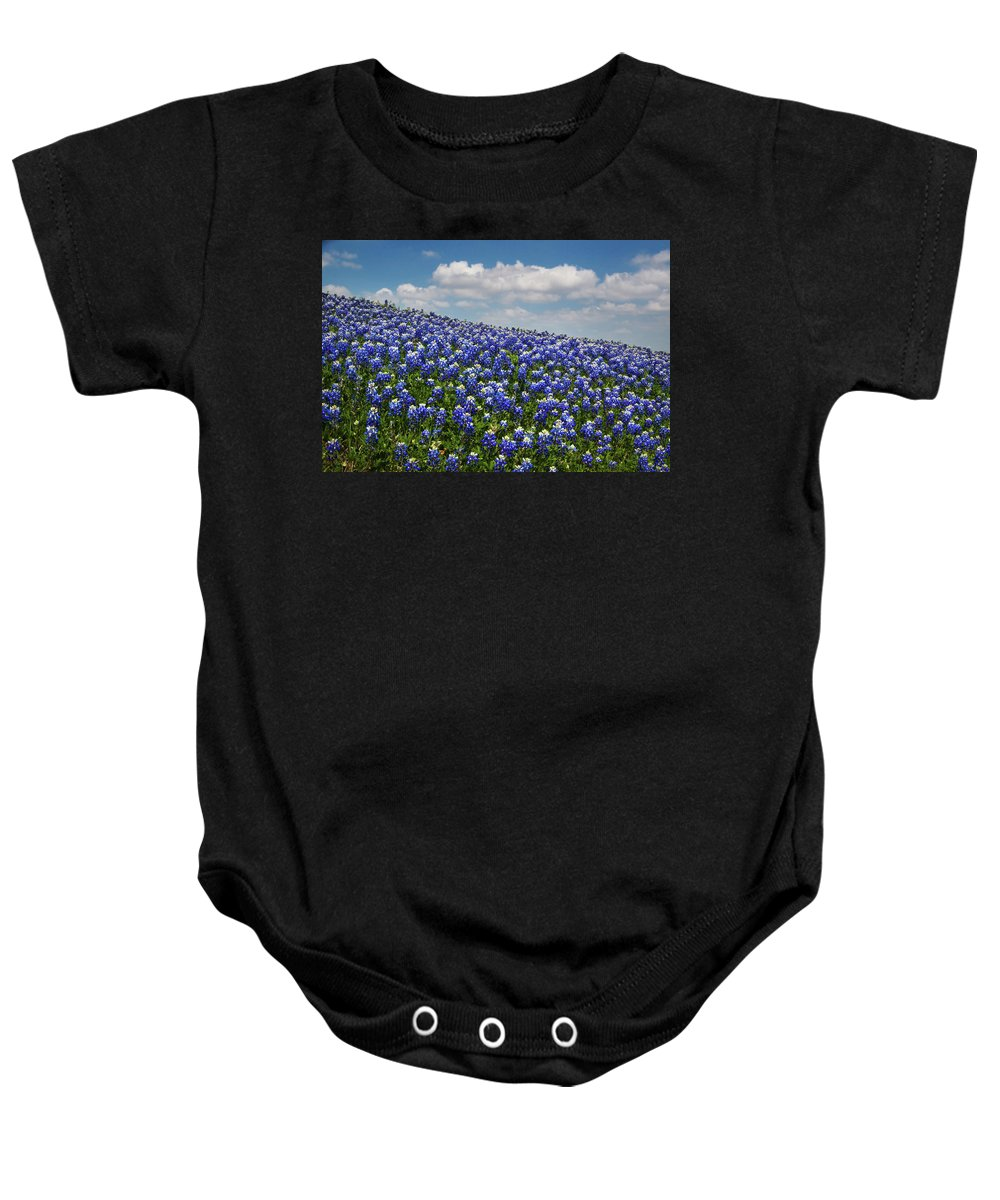 Bloom Baby Onesie featuring the photograph Hillside Texas Bluebonnets by David and Carol Kelly